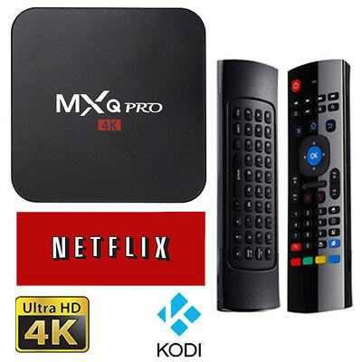 MXQ PRO Smart TV Box UHD 4K Android 6.0 Kd 17.1 S905X Quad-Core 1G+8G Cable HDMI