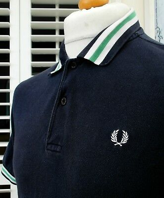 Fred Perry Navy Bold Tipped Pique Polo - M - Ska Mod Scooter Casuals Skins