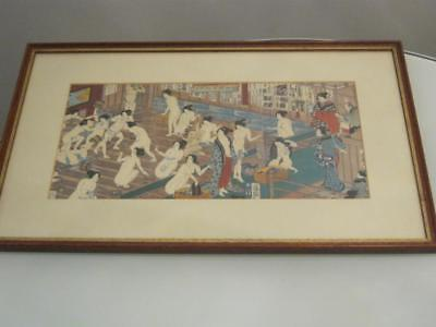 Stunning Signed Japanese Framed Bathing Scene Print