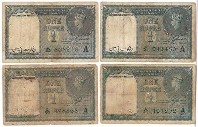 4pcs PAKISTAN , BRITISH INDIA,OVER PRINT ,1 RUPEE PICK # 1A  , VERY RARE RARE