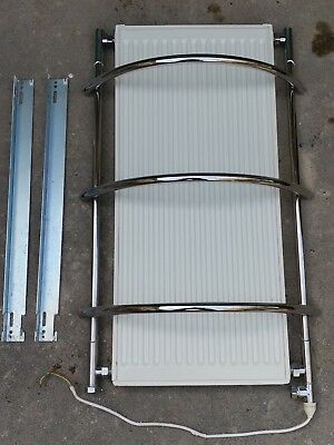 Towel rail radiator dual fuel electric heated with element