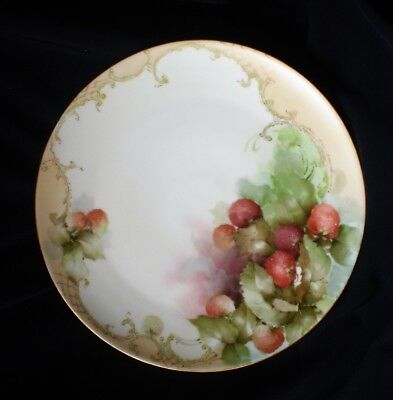 Limoges France Hand Painted Porcelain Charger Plate-Crosshatch w/ Strawberries