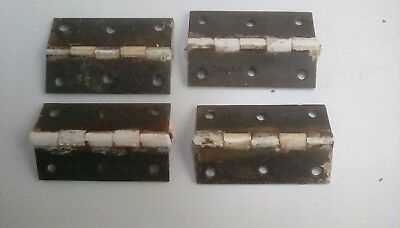 Antique  old  vintage Cross door hinges Cast iron 3 and half inches