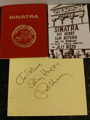 Frank Sinatra Table Card Caesar's Palace with Pat Henry Autograph and Postcard