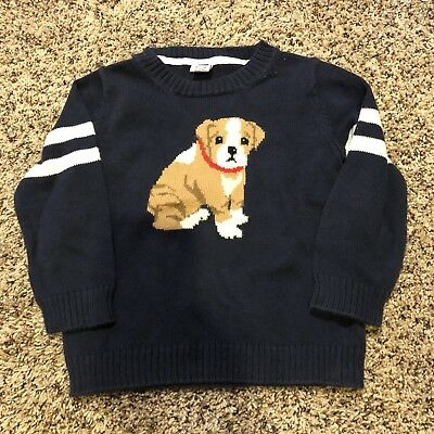 Janie And Jack toddler Boy 18 - 24 Months Bulldog Puppy Sweater Holiday VGUC