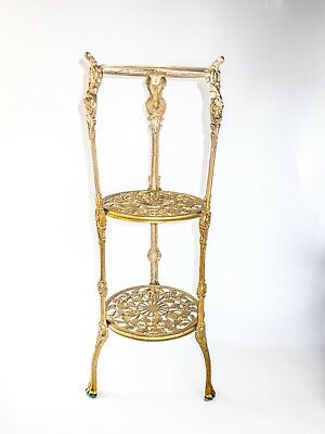 Ornate 3-Tier Brass Table Plant Stand Nightstand Art Nouveau Hollywood Regency
