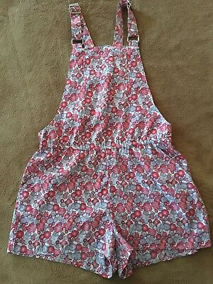 Girls' Pink and Blue Floral Overalls w/Adjustable Straps From H&M- Size 10-11Y