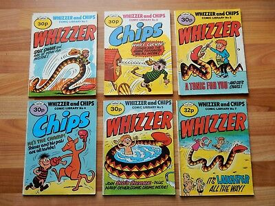 x6 RARE Vintage Whizzer and Chips Comic Library No 1-5 + 7 c.1985 British Comics