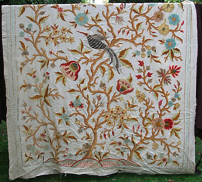 Antique Bird Flowers Crewelwork Wool Embroidery Curtain Panel Wall Hanging Linen