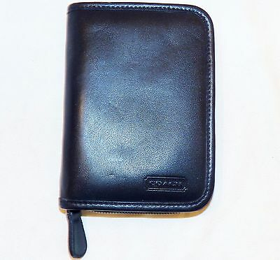 Coach PDA Zippered Cell Phone Case Palm Pilot Carrier Holder Black Leather 4565C