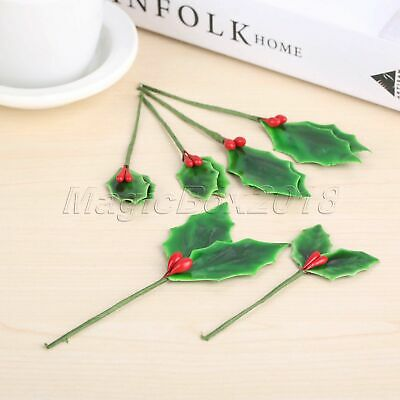 10x Artificial Berries Branch Fake Flower Fruit Green Leaves Party Decoration