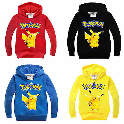 POKEMON GO Kids Girls Boys Hoodies Jumper Sweatshirt Tops Coat Pikachu Outerwear