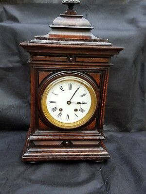 Antique Lenzkirch oak bracket clock for spares or repair
