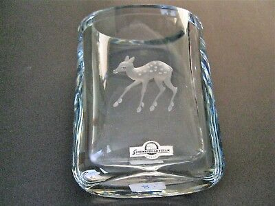 Stromberg Shyttan Sweden Etched Crystal Vase With Beautiful Fawn