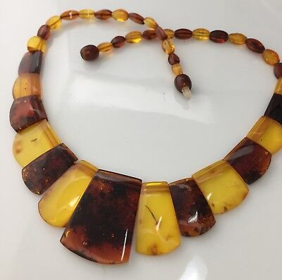 Vintage Jewellery Gorgeous Real Amber Two Tone Fringe Style Necklace