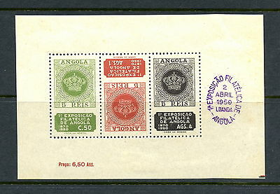 Angola 1950 #330A stamps on stamps exhibition sheet MH G990