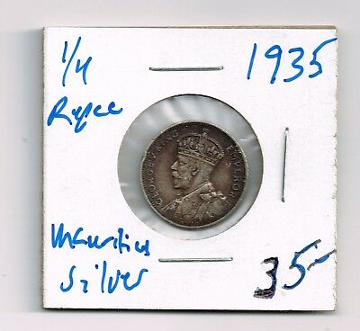 Mauritius 1935 1/4 Rupee George V RARE LOW Mintage UK SILVER Coin