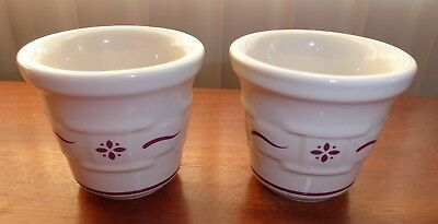 2 Longaberger Woven Traditions Red Basket Weave Flower Votive Candle Holder Cups