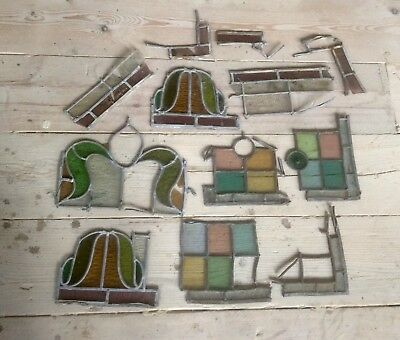 Job Lot Reclaimed Victorian Church Stained Glass Fragments,Lead,Panes,Salvage