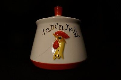 Vtg MCM Holt Howard Japan Coq Rouge Rooster Jam Jelly Jar with Lid DISPLAY ONLY