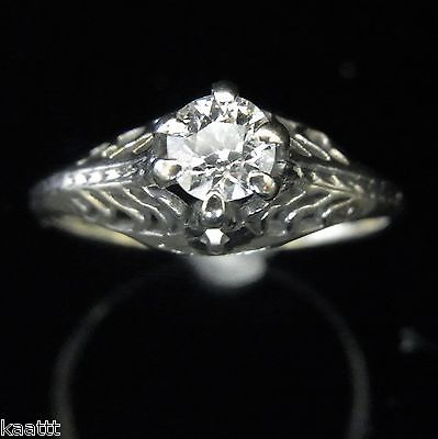 Antique Diamond Engagement Ring Old European Cut 14k Gold Art Deco Vintage 1920s