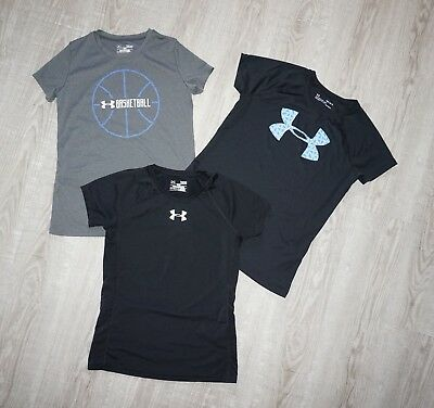 Youth Girls Under Armour Athletic Clothes Lot 3-Shirts Large