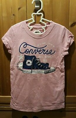Girls Pink CONVERSE T Shirt Age 5-6 Yrs Old 100% Cotton.