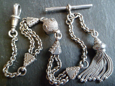 Antique Victorian Style Solid Silver Albertina Pocket Watch Chain + Tassel Fob