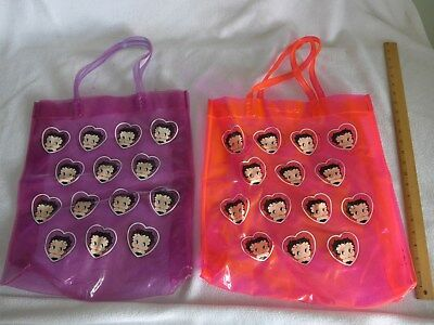 Lot of 2 Betty Boop Womens Plastic Tote Shopper Bags Pink Purple