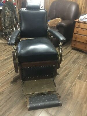 Antique Wooden Barber Chair Climax by Eugene Berninghaus 1887