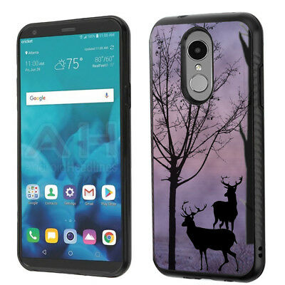 Dual-Layer Phone Case (Brushed Texture) for LG Stylo 4 - Deer/Twilight