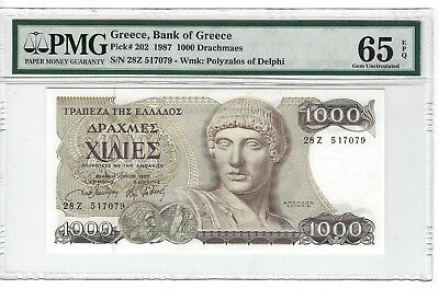 P-202 1987 1000 Drachmaes, Bank of Greece, PMG 65EPQ GEM Uncirculated