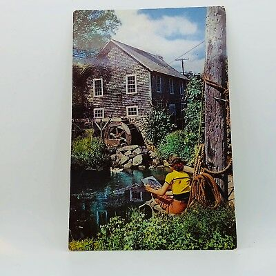 Postcard Vintage Massachusetts Old Grist Mill Brewster Cape Cod Girl A-22