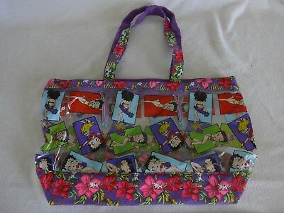 Betty Boop Large Plastic Womens  Tote Beach Bag with small change purse