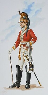Orig. Military Watercolour Painting - Officer 6Th Inniskilling Dragoons - 1812