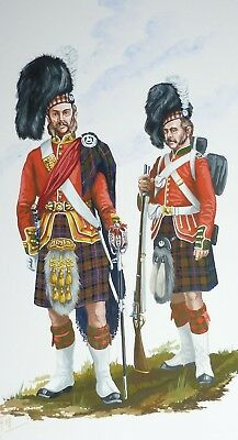Orig. Military Watercolour Painting - Scottish 79Th Cameron Highlanders - 1865