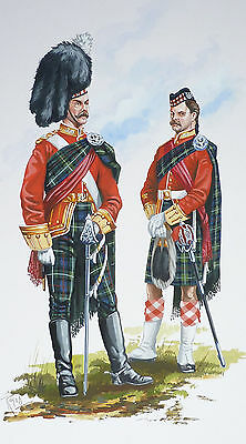 Original Military Watercolour Painting - The Seaforth  Highlanders - 1895