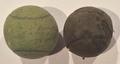Pair of Antique Circa 1900 - 1920 Tennis Balls Early Vintage Lawn Tennis Old