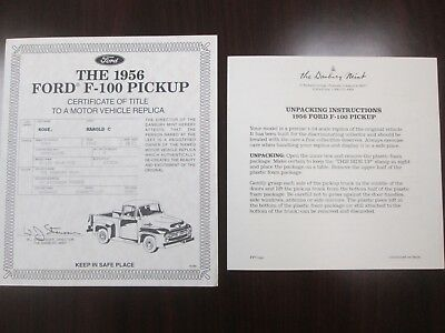 Danbury Mint Paperwork 1956 Ford F-100 Pickup