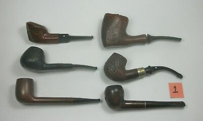 w1 Vintage Lot of Six Tobacco Smoking Pipes. Assorted Brands. Pre-owned.