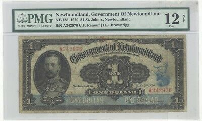 Canada NEWFOUNDLAND #NF-12d $1 1920 ISSUE PMG 12