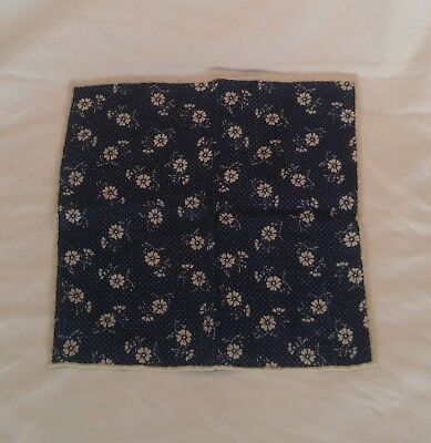 NWT J Crew Navy blue wool pocket square with white floral print
