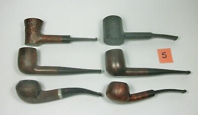 w5 Vintage Lot of Six Tobacco Smoking Pipes. Assorted Brands. Pre-owned.