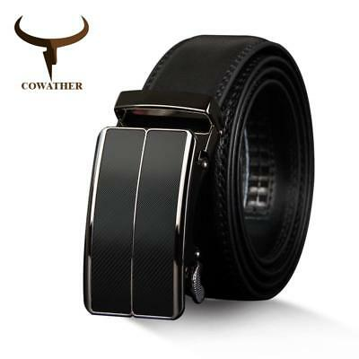 COWATHER New Arrival cow genuine leather men's belt cowhide strap for male autom