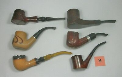 w8 Vintage Lot of Six Tobacco Smoking Pipes. Assorted Brands. Pre-owned.