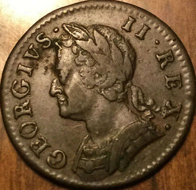 Uk Gb Great Britain 1754 Farthing, Great Details Nice Old Coin !!