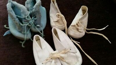 Vintage Baby Crib Shoes Lot, 3 pair As Is
