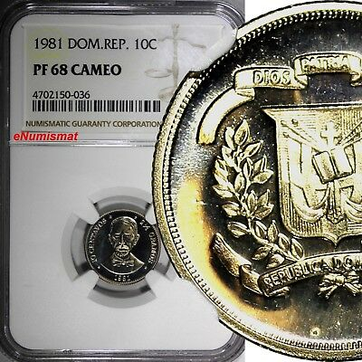 DOMINICAN REPUBLIC PROOF 1981 10 Centavos NGC PF68 CAMEO TOP GRADED COIN KM# 50