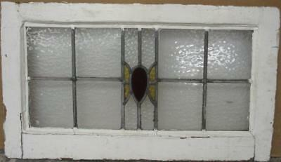 "MID SIZED OLD ENGLISH LEADED STAINED GLASS WINDOW Nice Abstract 25"" x 14.25"""