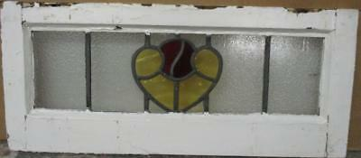 "MID SIZED OLD ENGLISH LEADED STAINED GLASS WINDOW Cute Abstract Heart 23"" x 10"""
